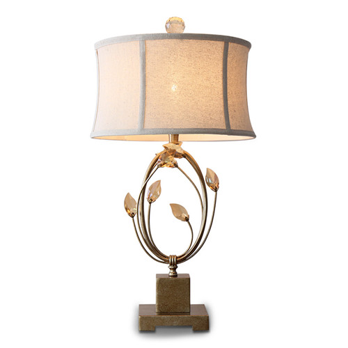 Crystal Table Lamp With Iron Body Fabric Shade Tkl
