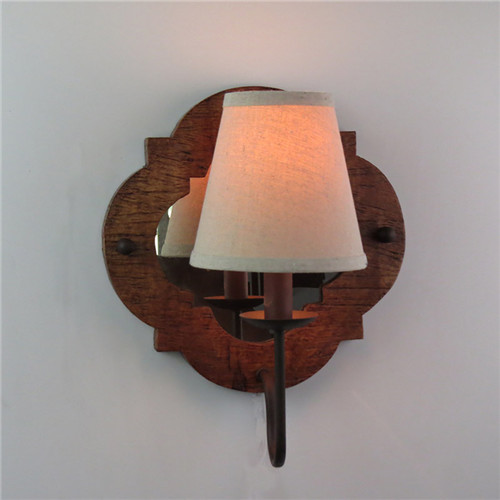 wooden base with mirror inside wall lamp, fabric shade - TKL